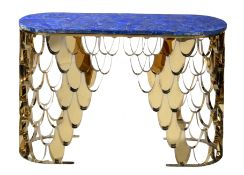 A brass and Lapis Lazuli veneered console table