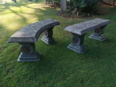 An Oriental style composition stone curved bench