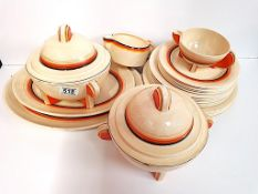"""Clarice Cliff """"Bizarre"""" 2 Tureens, 2 Serving Plates, 2 Dishes. Plates 6 dinner, 6 side, 5 sweet"""