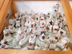 A excellent collection of War memorabilia crested figures approx 65 Carlton ware, Goss, Arcadian etc