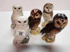 5 x Royal Doulton Whyte & Mackay Owl Decanters (1 full)