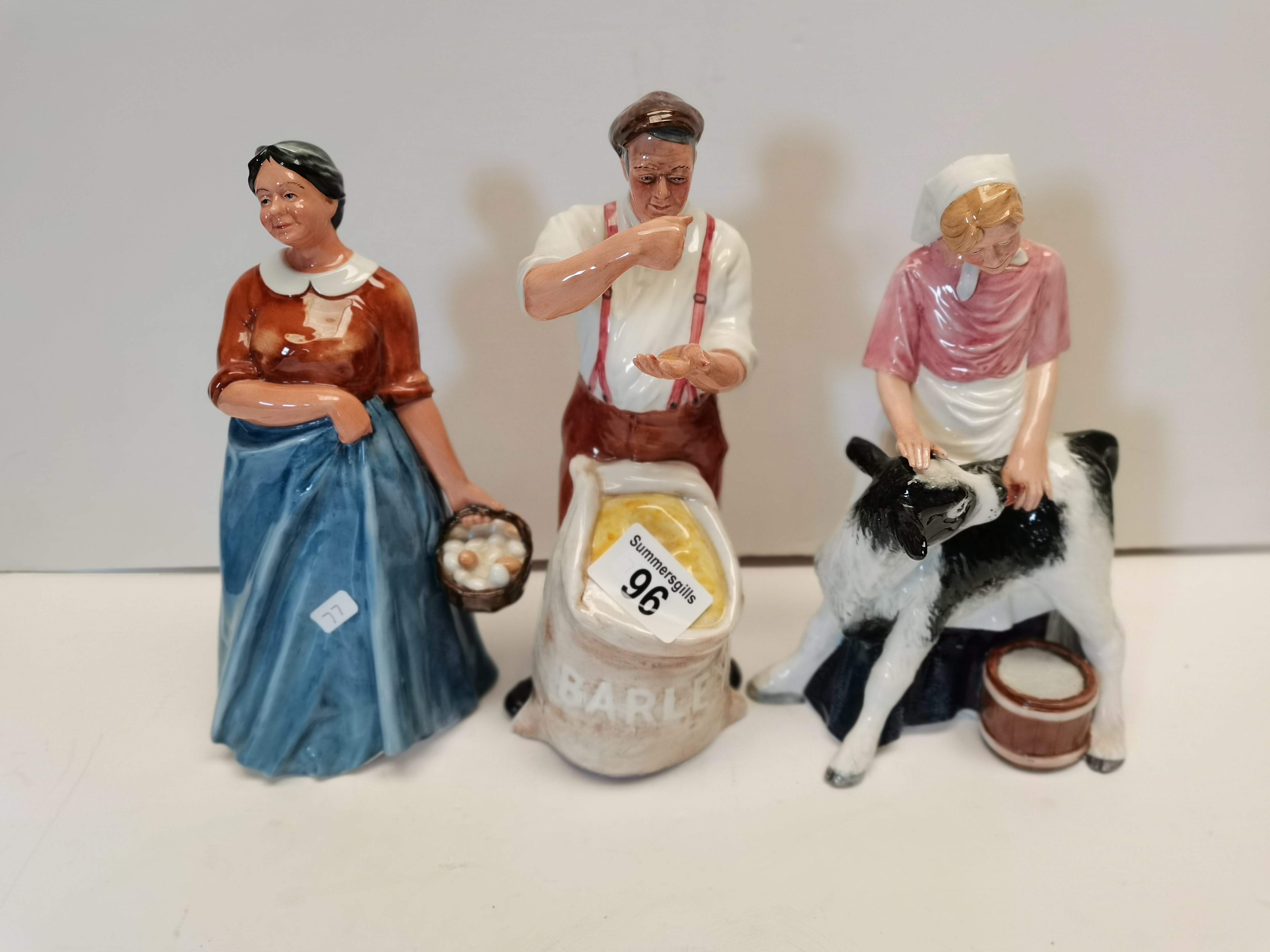 3 x Doulton figures Farmer Farmers wife and Country maid