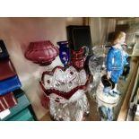 Glassware and blue boy figure