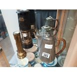Early miners torch Oldham and son Manchester type d1 and miners lamp etc.