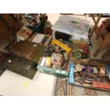 7 boxes misc items incl tools, plane, tobacco tins etc