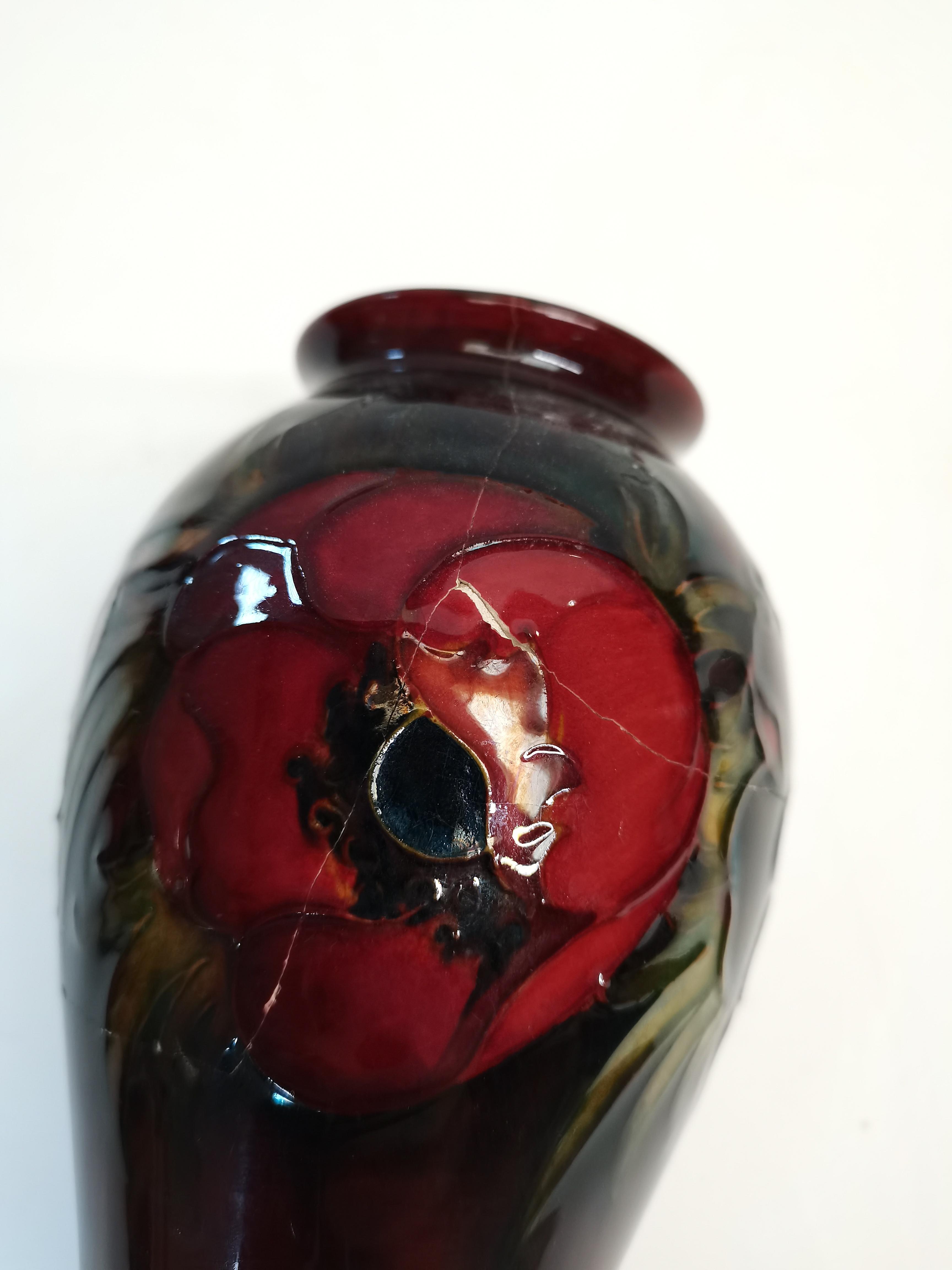 Moorcroft Flambe Poppy Vase A/F 18cm A/F - Image 5 of 5