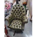 Green leather button back office chair
