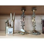 2 Brass Candlesticks and a Brass Opium Smoking Kit with Symbols on Lid