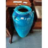 85cm floor vase in turquoise ex con.