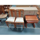 G plan style nest of tables plus 2 x Ercol dining chairs