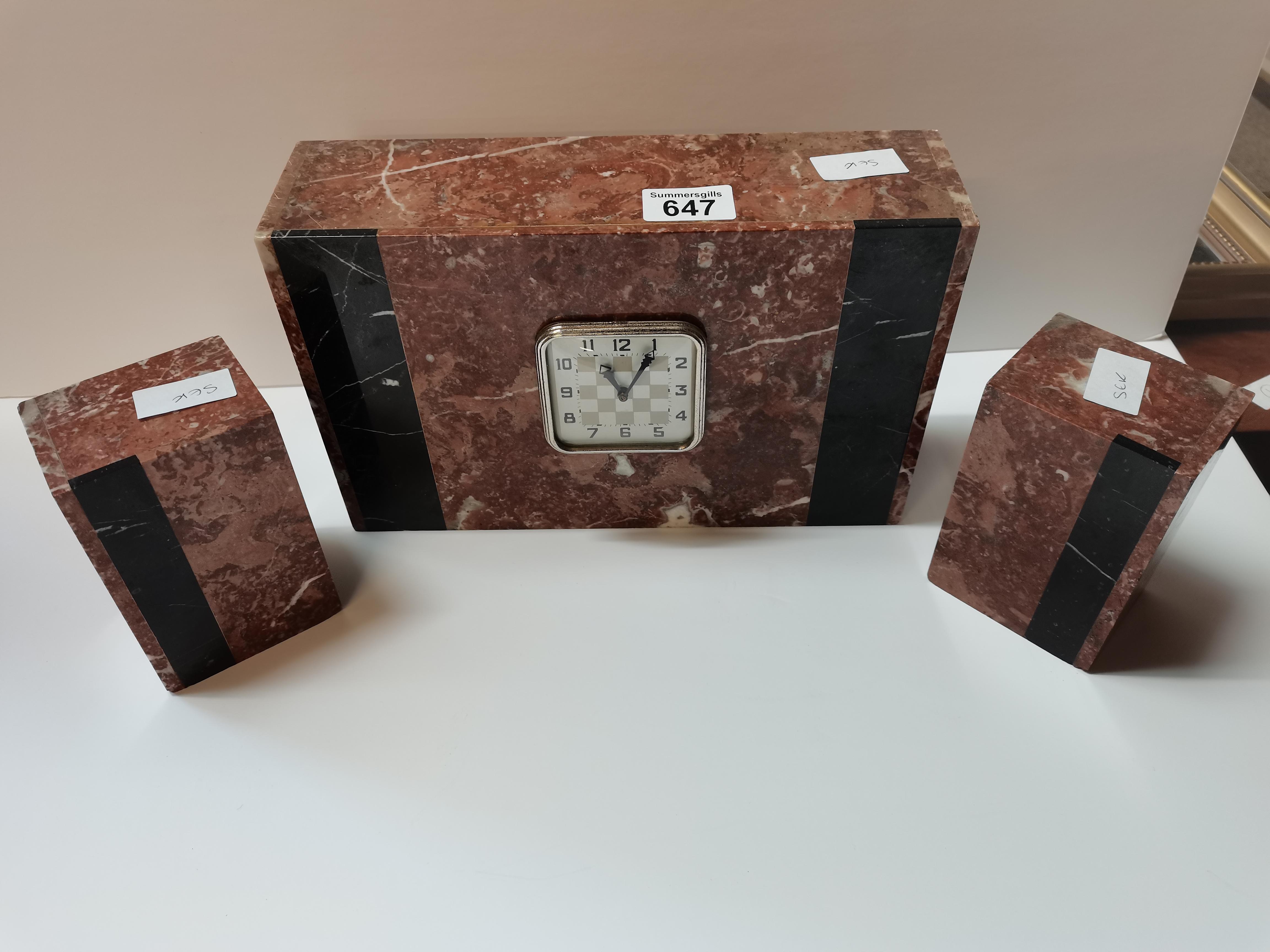 3 piece clock Art Deco garniture set