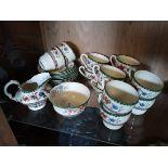 Copeland England Chinese Rose coffee set