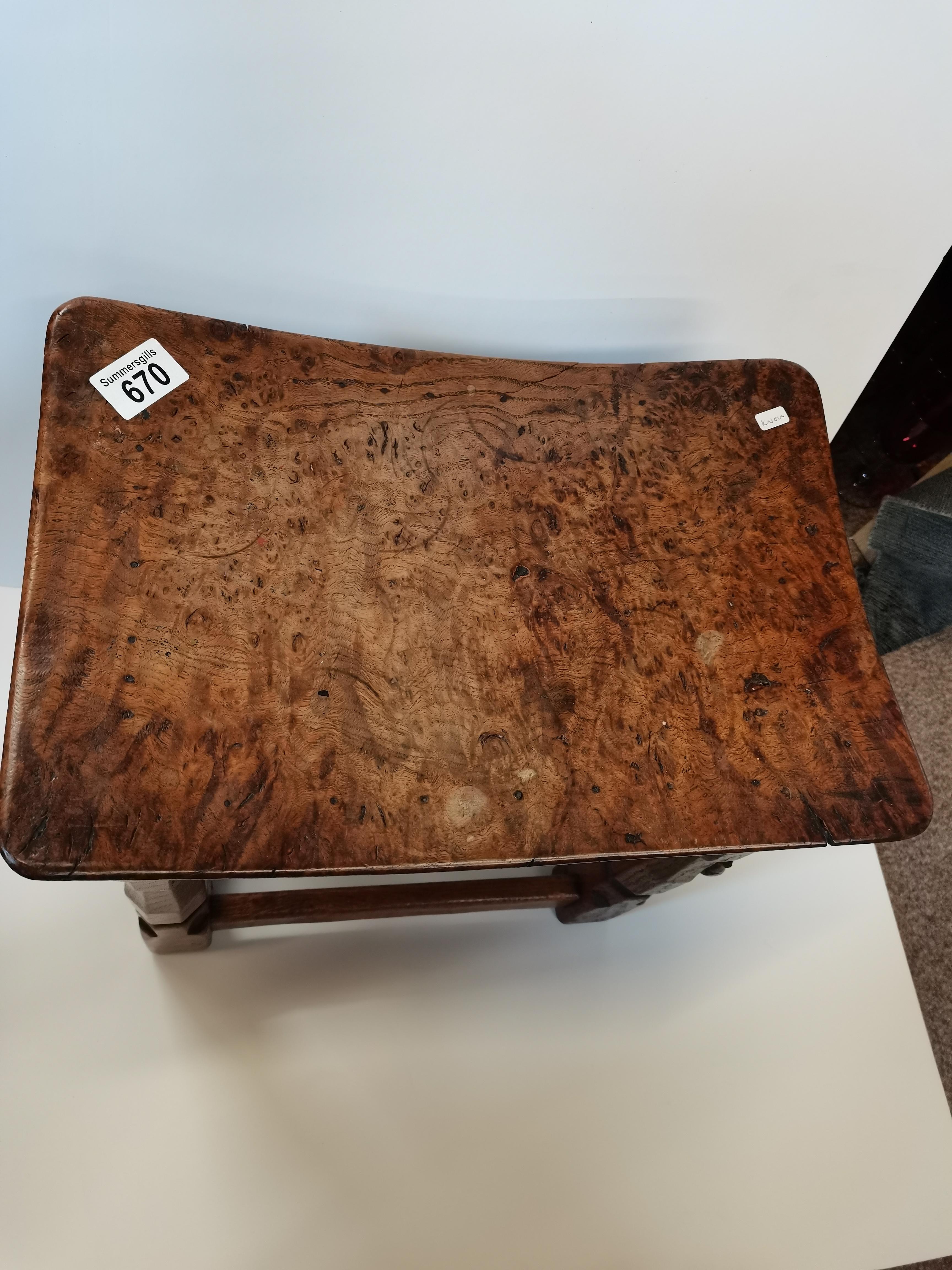 Early Mouseman burr oak stool - Image 2 of 9