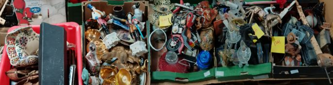 5 boxes misc items incl Capodimonte style figures, horse figures etc