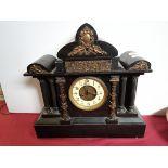 Large Black Slate Clock With Hunting Scene and Cherubs