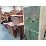Pine 3 ht chest, cupboard and kitchen cupboard