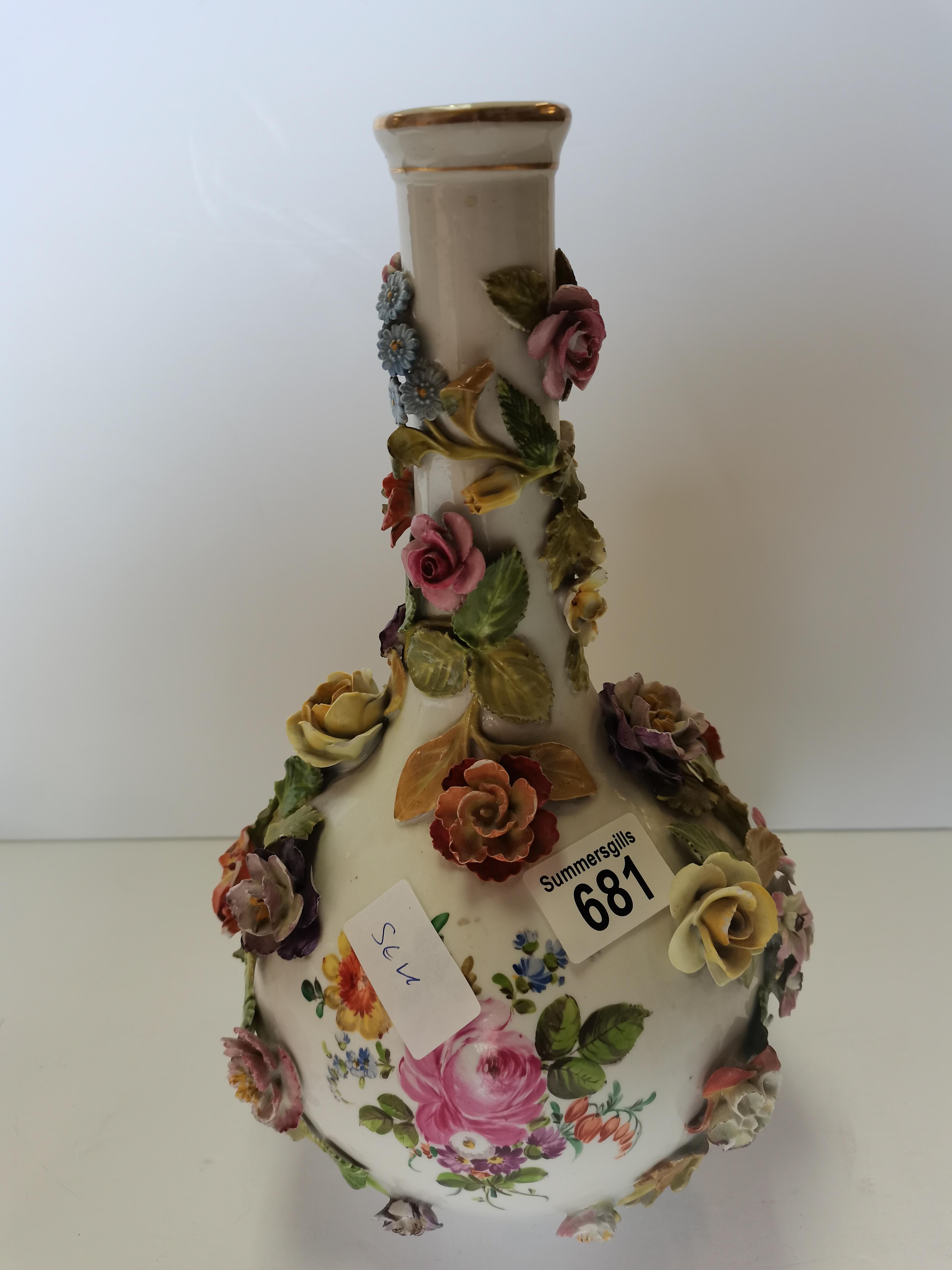 30cm Dresden floral decoration vase - Image 3 of 3