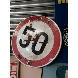 """Circular Speed """"50"""" Enamel Sign"""
