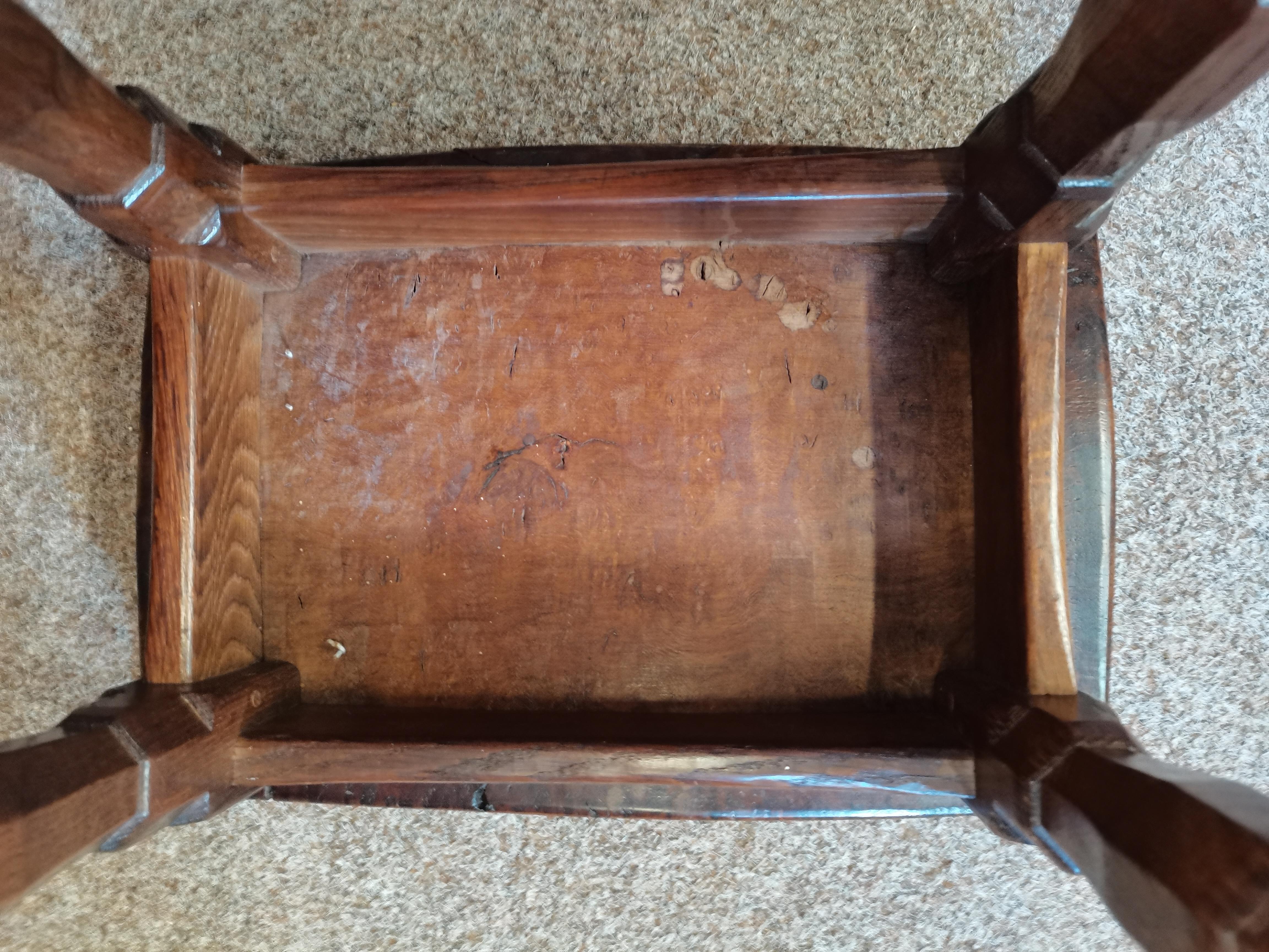 Early Mouseman burr oak stool - Image 6 of 9