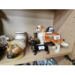 9 Pieces Including Wade Pottery 2 Ornimental Dogs A Caddy and a Brass Enameled Egg and other