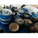 Blue and white Cornish pots