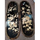 A pair of Chinese wall plaques 90cm x 30cm
