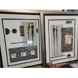 """2 Large Posters In Frames Signed """"Dominique Gaudin"""""""
