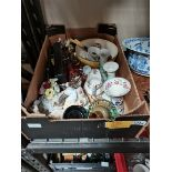 1 box misc. items incl costume jewellery, Royal Doulton bowl, china items etc