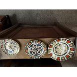 3 x Crown derby Imari Pattern plates 15 18 and 22cm