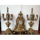 Brass italian clock garniture set 62cm high