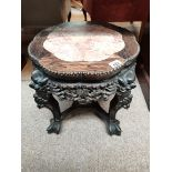 Antique rosewood and marble oriental plant stand