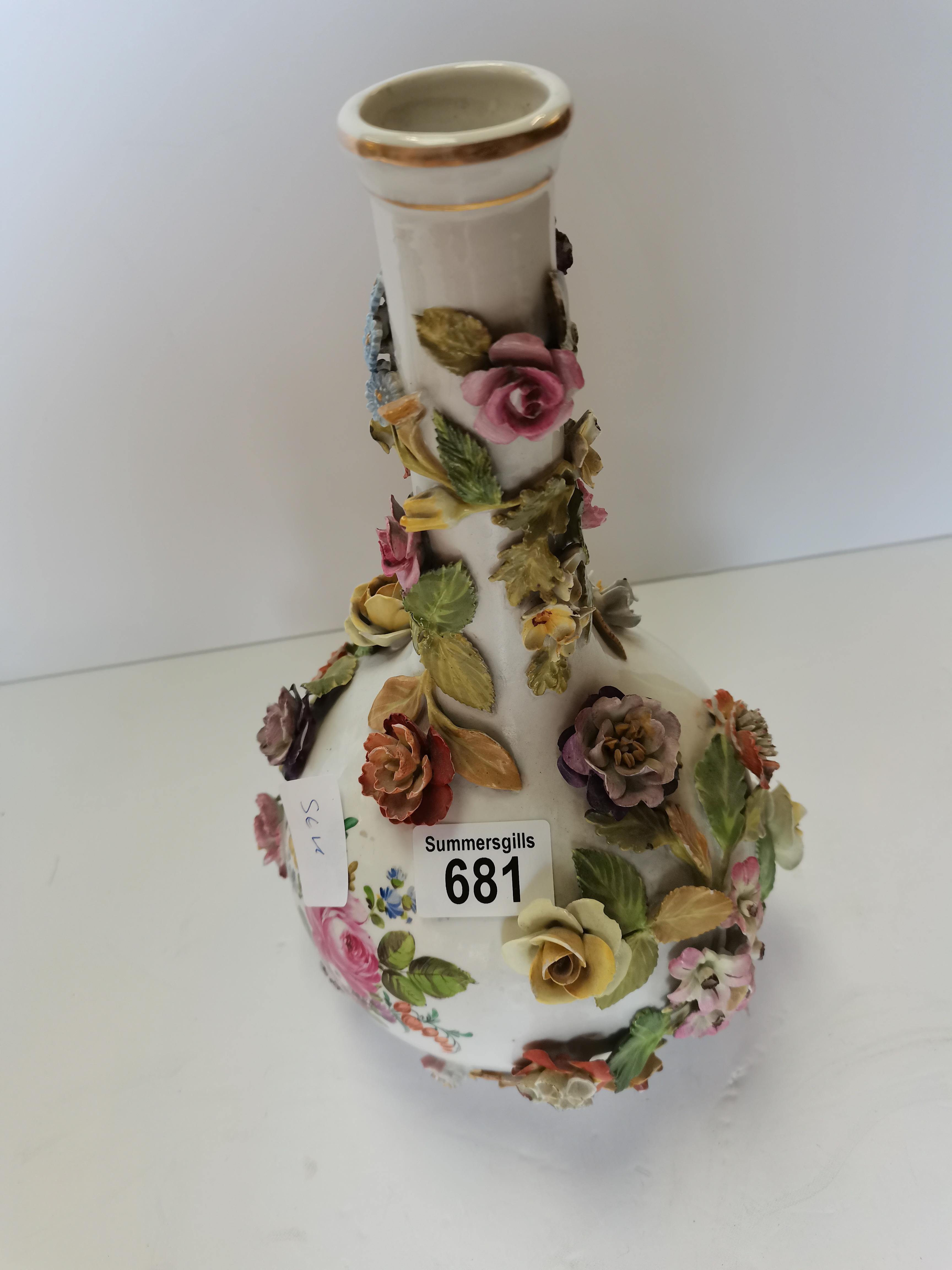 30cm Dresden floral decoration vase