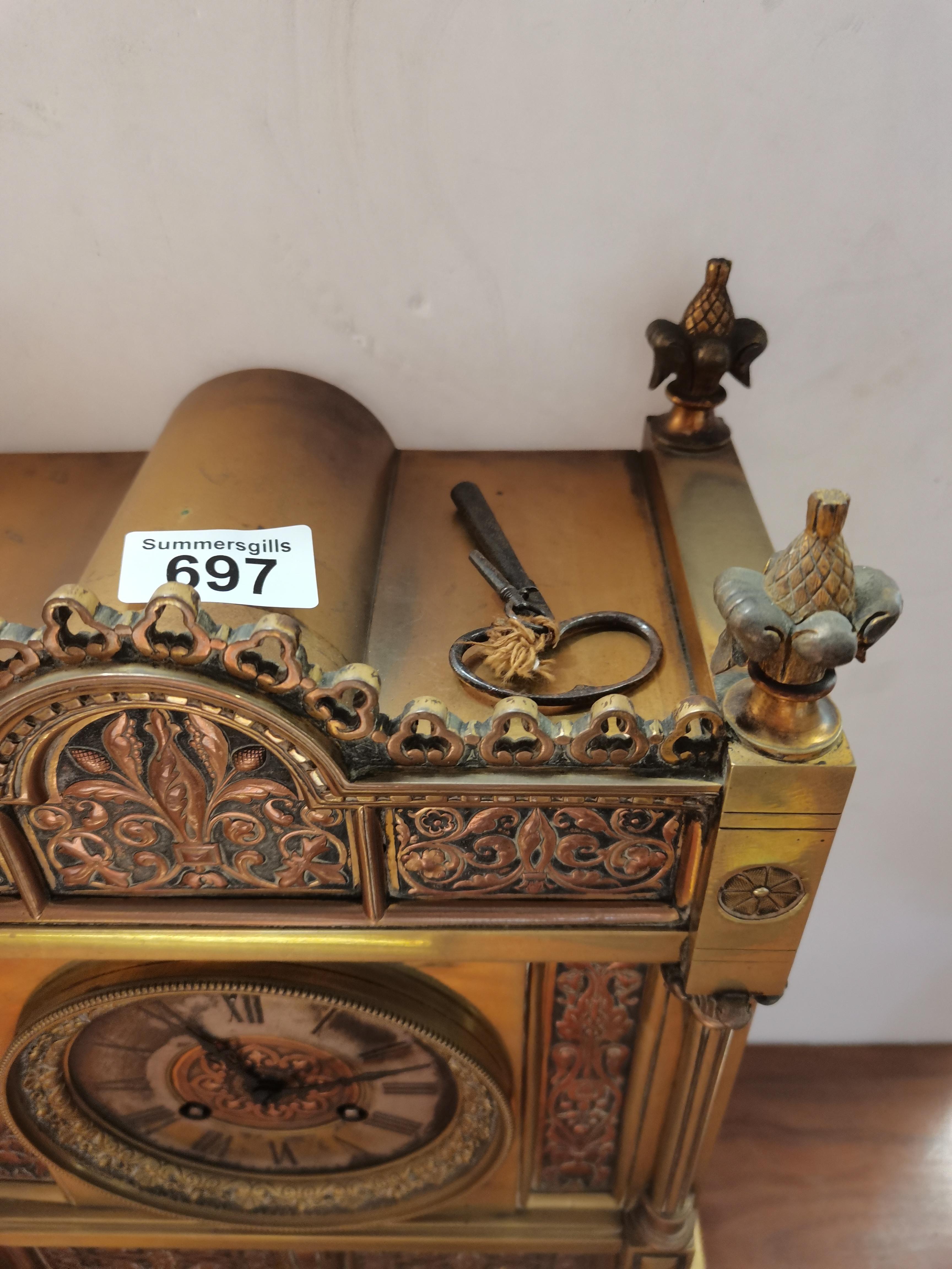 Antique 40cm brass mantle clock - Image 3 of 5