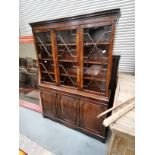 Mahogany bookcase with glazed astral top