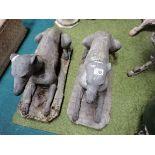Pair of garden dog statues ( 1 broken )