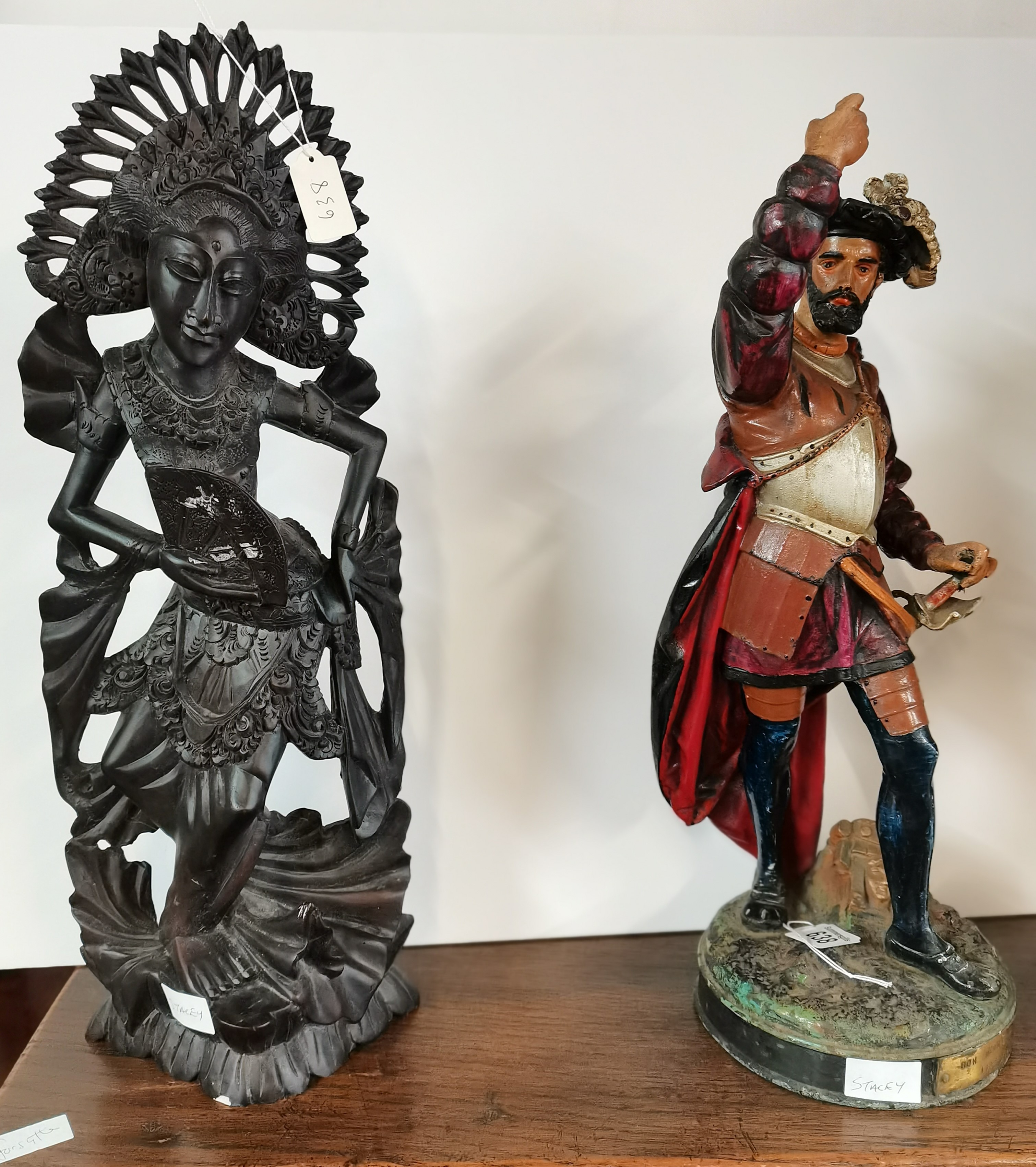 Oriental lady figure and spelter cavalier