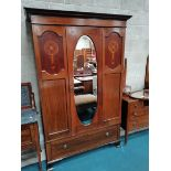 5 piece Edwardian bedroom suite incl marble washstand, wardrobe, dressing table and beds