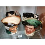 4 Royal Doulton Toby Jugs: 2 unnamed 1 Count Dracula with certificate no. D7053 and 1 Dennis &