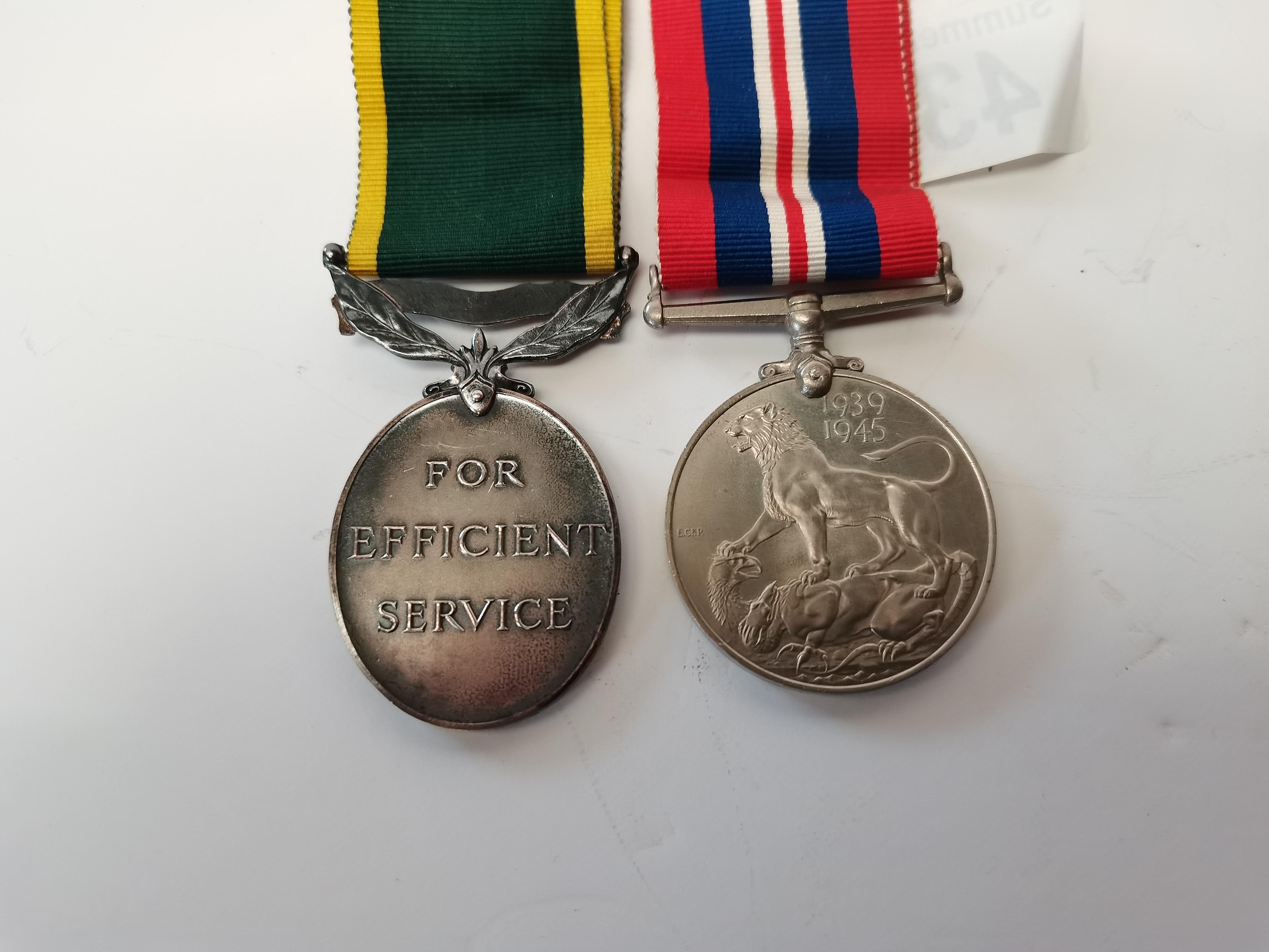 War medal 1939-45 and territorial medal 910872 BDR KM HUNTER RA - Image 2 of 2