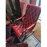 Red leather and button backed rocking chair
