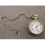 Silver OMEGA pocket watch with chain