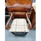 Oak bureau and Antique armchair