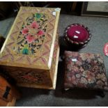 Oriental carved log box , and 2 x Victorian stools