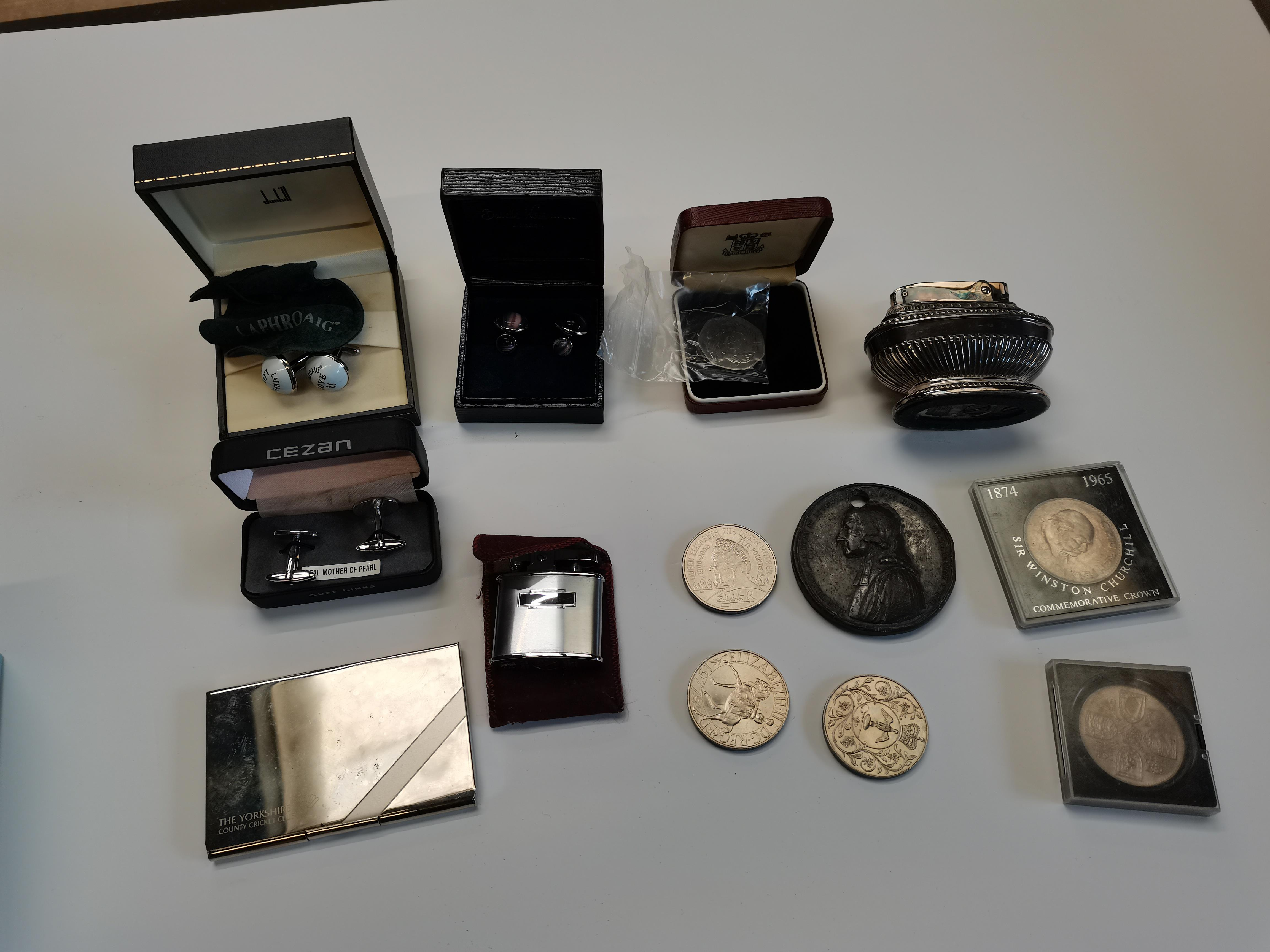 1839 Centenary of Wesleyan Methodism silver medal plus Ronson lighter, coins etc - Image 8 of 8