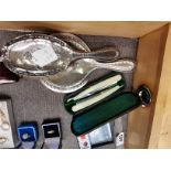 Silver brush set and pair of cut throat razors made expressly for John Hall Cardiff