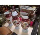 Set of 3 white and pink glass vases with floral design