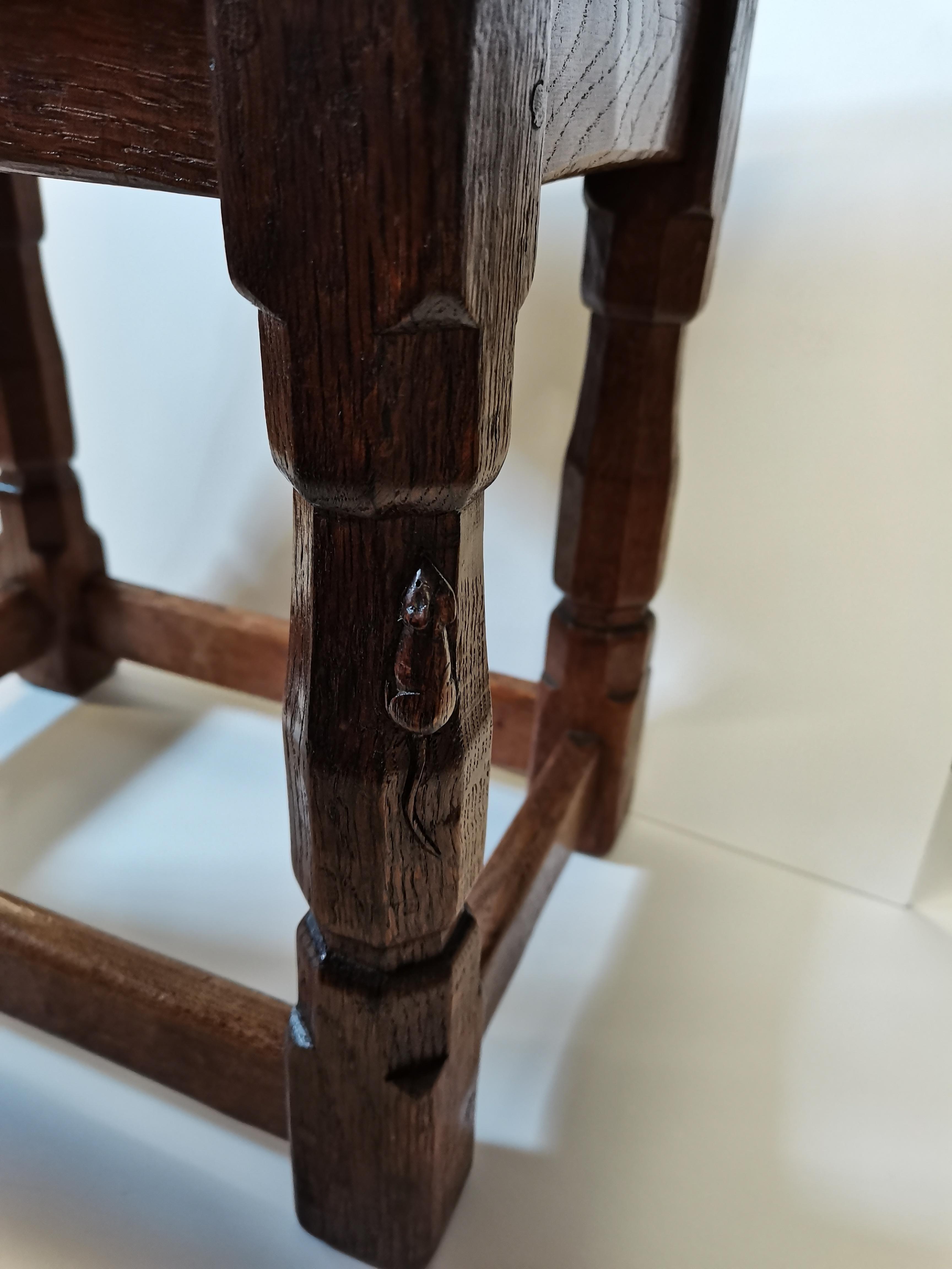 Early Mouseman burr oak stool - Image 3 of 9