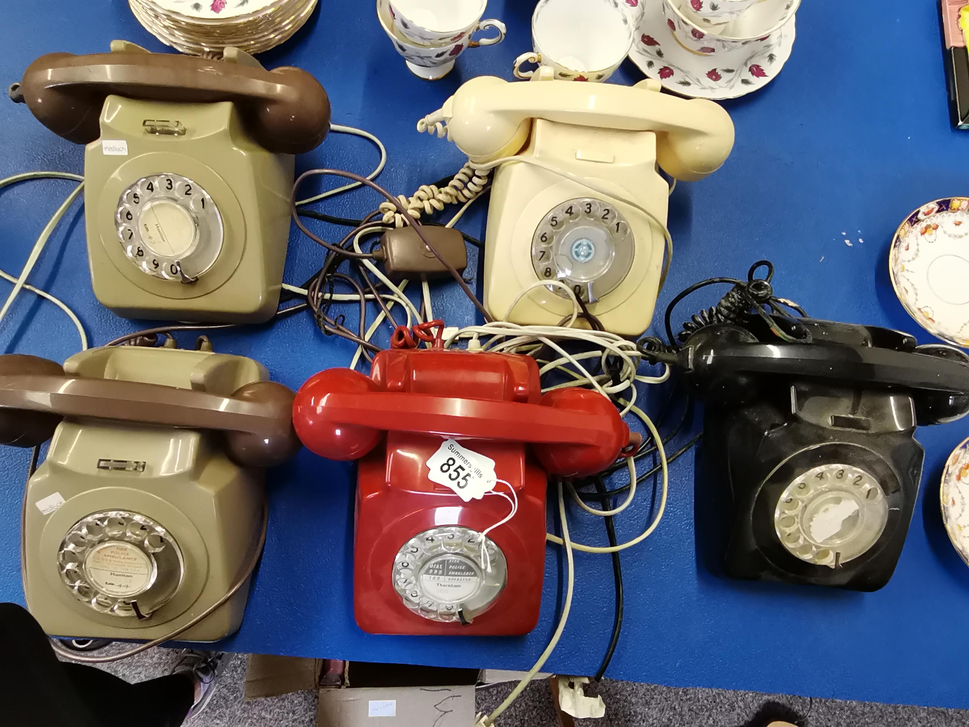 5 old Telephones 2 Grey 1 red 1 white 1 black - Image 3 of 3