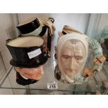 4 Royal Doulton Toby Jugs: No 598 Mr Micawber with certificate No 363 Marleys Ghost. No 557 Bill