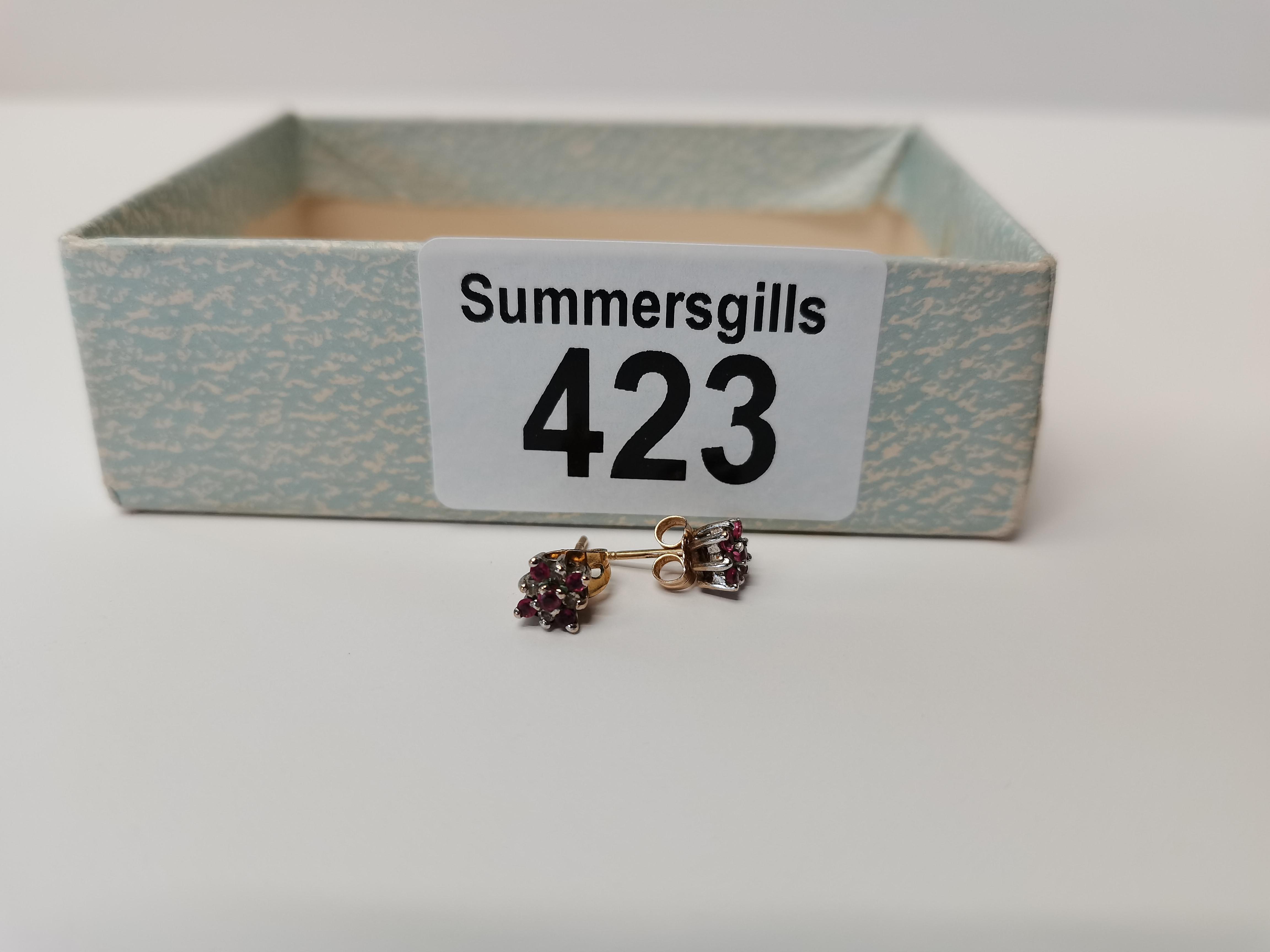Pair of Diamond and Ruby earrings